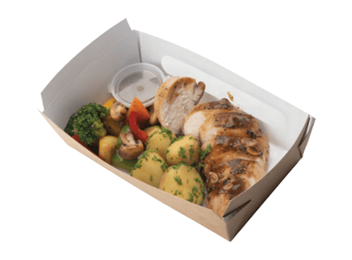 Grilled Chicken with Vegetables and Mushroom Pepper Sauce
