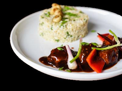 Garlic Rice with Stir Fried Chicken
